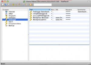 Bildschirmaufnahme der Programm KeePassX