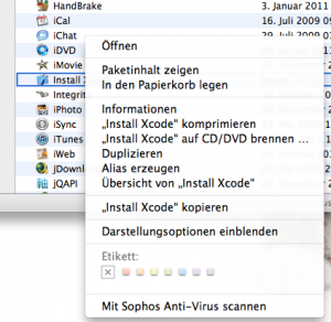 Install Xcode Rechtsklick auf Programm